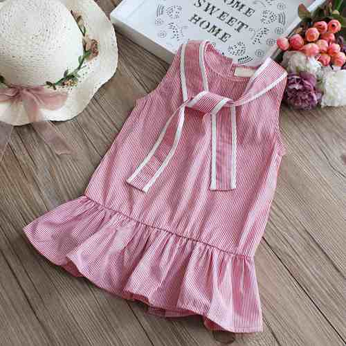 Trendy Summer princess dress Cotton baby girl embroidered peach vest dress 1-4Y High Quality baby girl infant dress