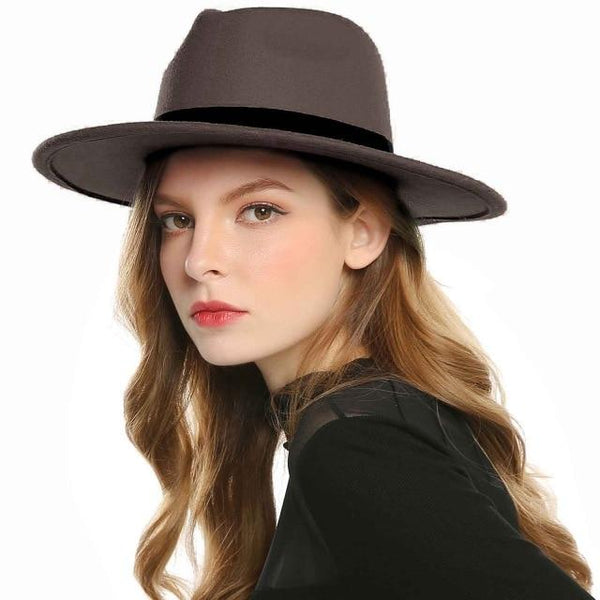 New Black Red Fedora Hats For Women Imitation Wool Fedoras Panama Felt Hat Winter Men Jazz Hats Trilby Caps