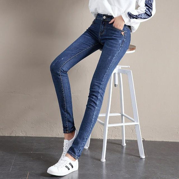 Korean Skinny Jeans For Women 2019 Spring Jeans Stretch Scratched Denim Pencil Pants Casual Regular Jean Trousers