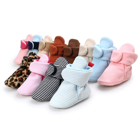 Winter Newborn Walking Shoes For Baby Boy Warm Wool Floor Booties Non-Slip Unisex Toddler Crib Shoes Infant First Walkers
