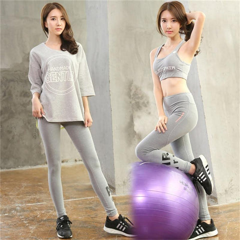 Women 3 Pieces Yoga Set Female Quick Dry Sportswear Gym Running Outwear Girls Clothes Grey with Letters Half T-shirt+Pants+Bra