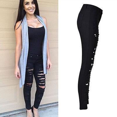 Women Basic Denim Skinny Ripped Pants High Waist Stretch Jeans Slim Pencil Trousers US Black Solid Color