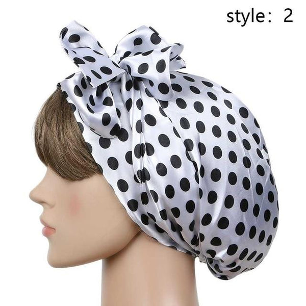 Women Fashion Sleeping Bonnet Cap Soft Pure Silk Sleep Hats Hair Care Wrap Female Night Cap