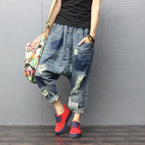 Women Spring Scratched Vintage Ripped Harem Pants Jeans Denim Trousers Ladies loose Elasitc Waist Distressed Denim Pants
