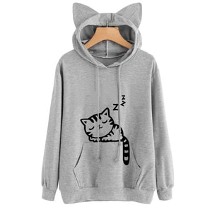 Women Long Sleeve Sweatshirts Print Cute Cat Ear Hoodie Casual