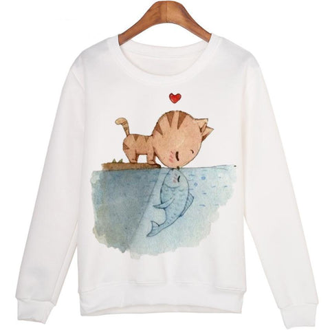 Women Winter Lovers Coat Cat Heart Sweatshirts White Plus Fish Hoodies