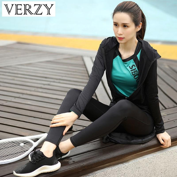 Women Yoga Set Zipper Jackets Long Sleeve Sports Bras Leggings 4 Piece Sportswear Breathable Exercise Fitness Gym Suits