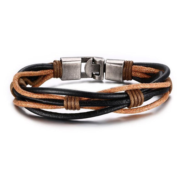 New Fashion Braided Leather Punk Jewelry Cuff Bracelet For Men's And Women's