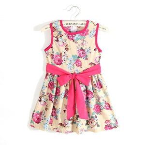 New Children Girls Sleeveless Floral Print Dresses Baby Girls Chiffon Bow Mini Dress