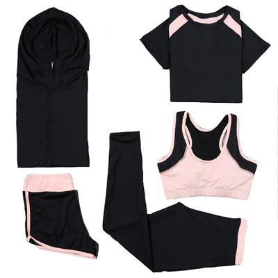 Yoga Set Sport Jacket+Tights Pants+Short+Yoga Shirt+Sports Bras 5 Pieces Running Sportswear Tracksuit Fitness Gym Clothing