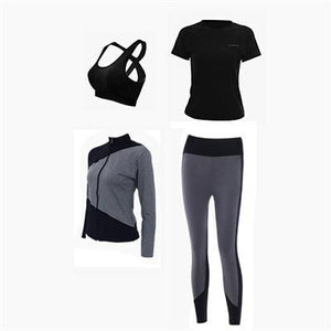 Yoga Set Women 4 Piece Sport Suit Fitness Hoodies Tights Plus Size Jogging Breathable Exercise Sports Bras Gym Clothing