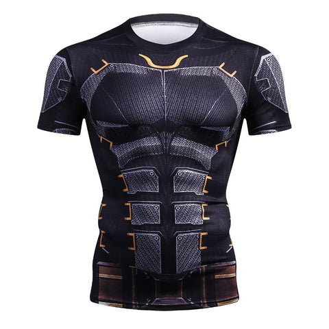 Men Compression T-Shirt Iron Batman Superman  Black Panther 3D Print T-Shirt