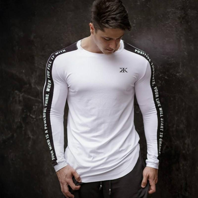 Long Sleeve Slim Fit Gym T Shirt for Men