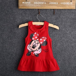 Latest Summer 100% cotton tops sleeveless dress cartoon fashion dress baby girl cartoon tops dress