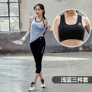 yoga sets top T-shir bra trouser sports wear women gym clothing fitness workout clothes sport suit jogging sportswear tracksuit
