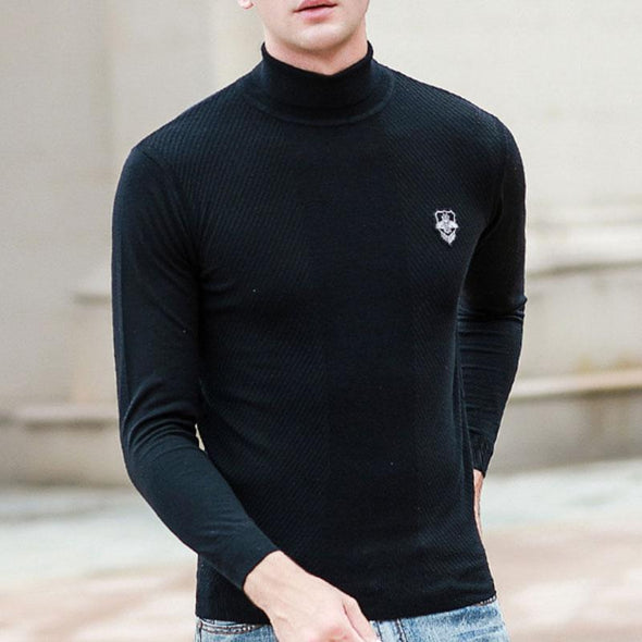 Long-sleeved Solid-color Badge Men's Sweater