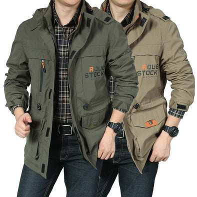 New Men's Mid-length Casual Outdoor Hooded Plus Size Coat
