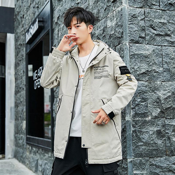 Fashion Men's Long Hooded Trench Coat