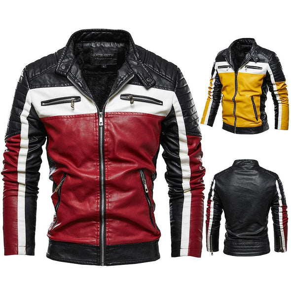 Men's Colorblock Plus Velvet Leather Jacket