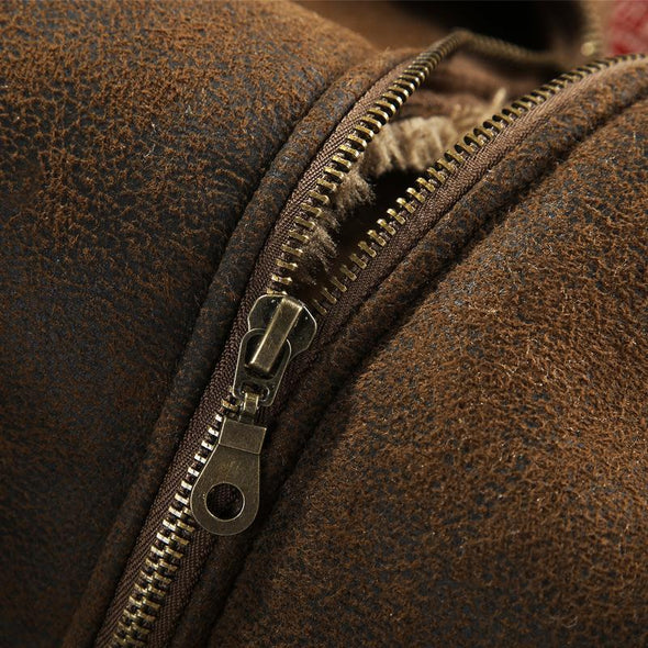 Warm Wool Fur Leather  Jacket  For Men