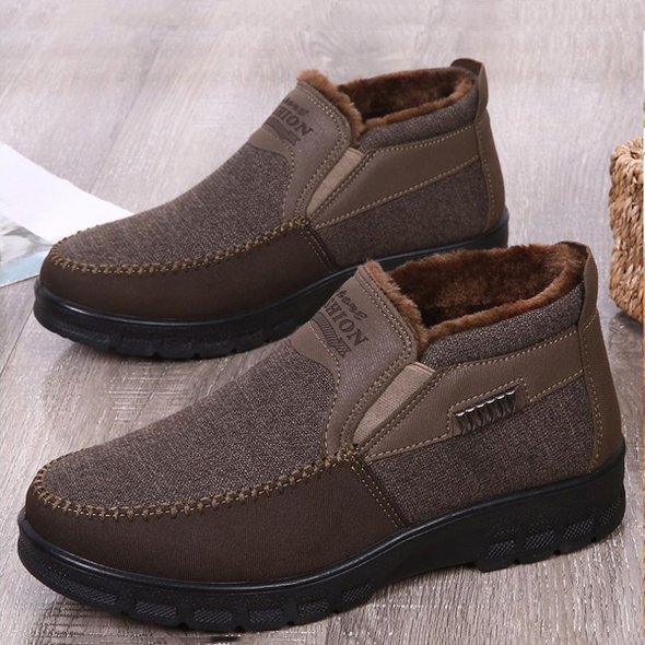 Men's Casual Comfortable Flat Slip On Leather Warm Shoes
