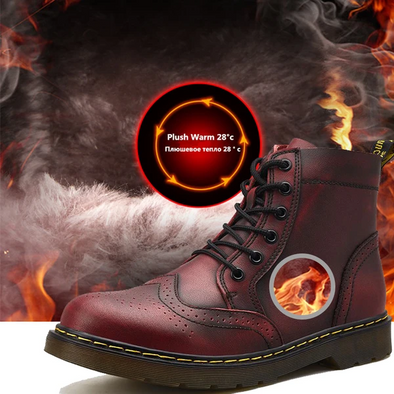 Men Genuine Leather Winter Outdoor Waterproof Boots