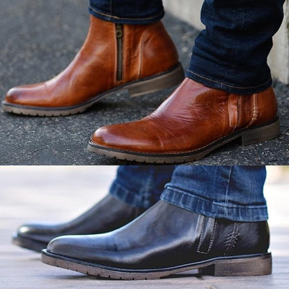 Fashion Men's Autumn Winter Round Toe Boots