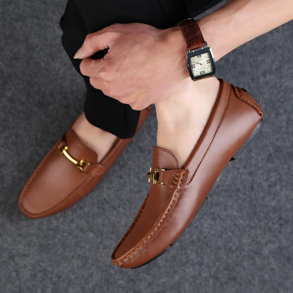 Fashion Men Split Leather Loafers Slip on Luxury Driving Shoes