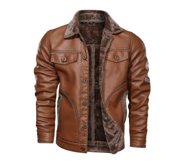 Winter Mens Fleece Warm Leather Jackets