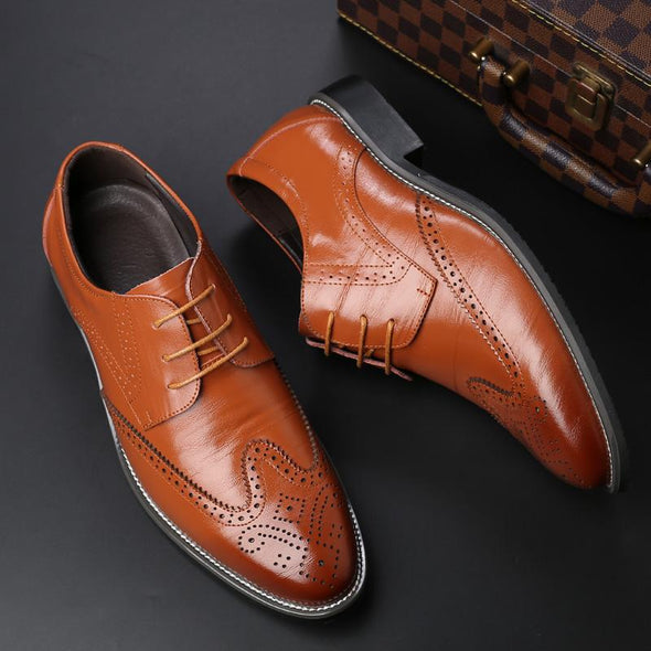 Men Oxford  Brogue Lace Up Genuine Leather Dress Shoes