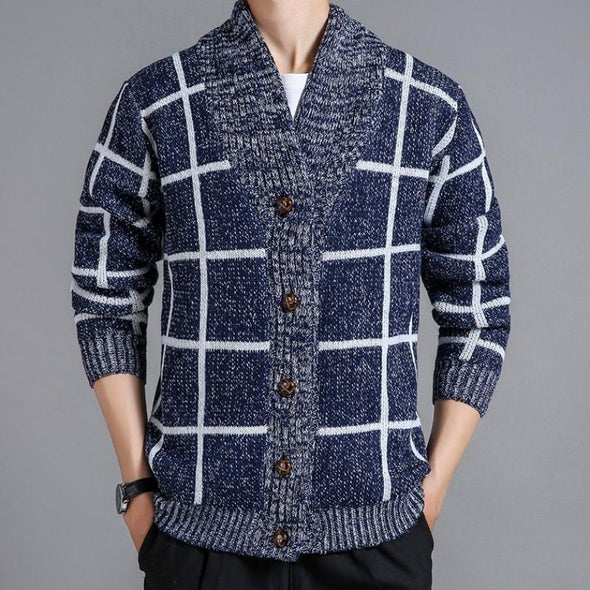Men Plaid Cardigan  Knitted Sweater