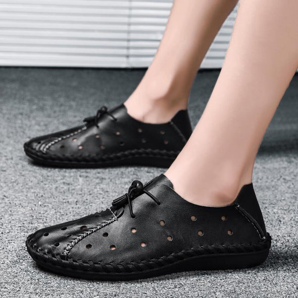 Soft Comfortable Genuine Leather Hollow Breathable Shoes