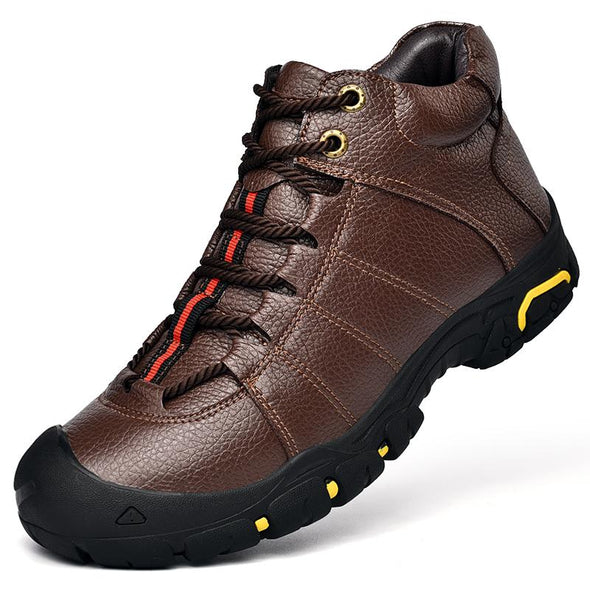 Winter Men Leather Outdoor Hiking  Combat Boots