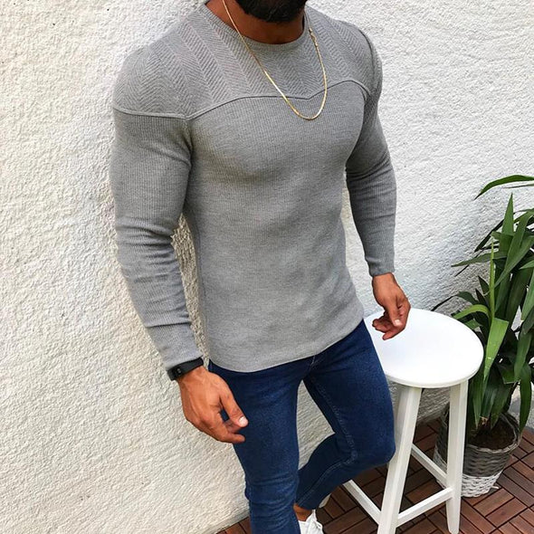 Slim long sleeve pullover sweater