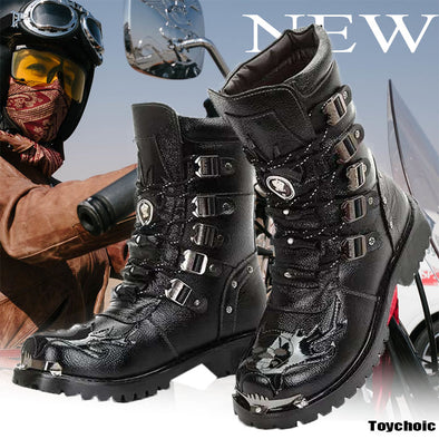 Men Genuine Leather Motorcycle Boots Warm Snow Shoes