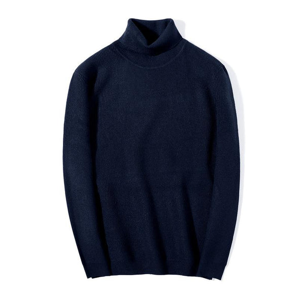 Knitted High-collar Pure-color Set Men's Sweater