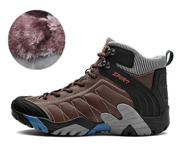 Men Hiking Boots Outdoor Trekking Plush Warm Mountain Climbing Shoes