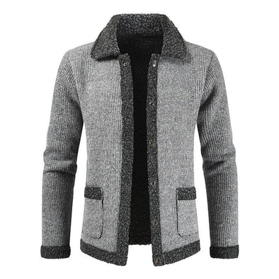 Winter Cardigan Men Solid Patchwork Thick Warm Sweater