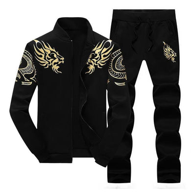 Spring Winter Sporting Suit Sweatshirt +Sweatpants Mens Clothing 2 Pieces Sets