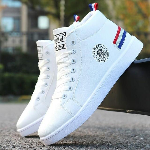 Men's Skateboarding Shoes High Top Sneakers Breathable White