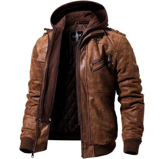 Men's Real Leather Jacket Removable Hood Winter Coat