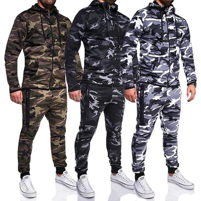New Men Sweat Suit Casual Sport Camouflage Tracksuit