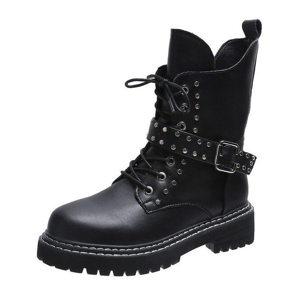 New Lace-up Casual Women Motorcycle Boots