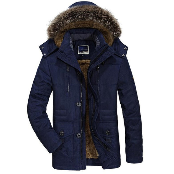 Winter Jacket Men Thick Casual Men's Fur Collar Windproof Parkas