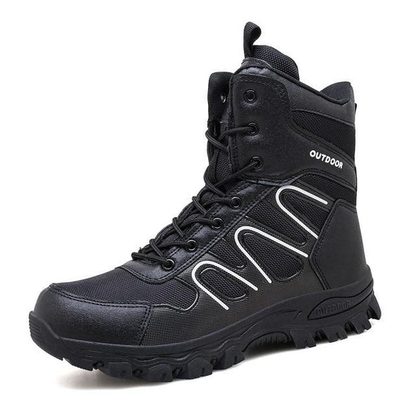 Military Ankle Boots Men Leather Casual Hunting Shoes