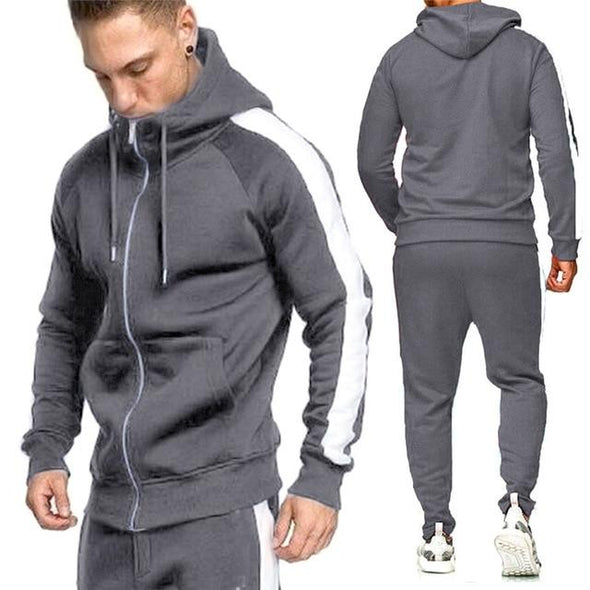 Men two Pieces Sets Tracksuit Hooded Sweatshirt +Drawstring Pants