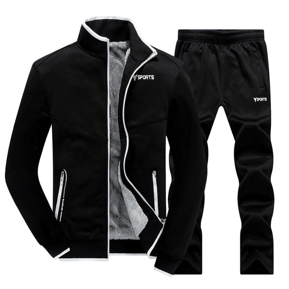 Winter Men Tracksuit New Fleece Lined Jacket Sweatpants
