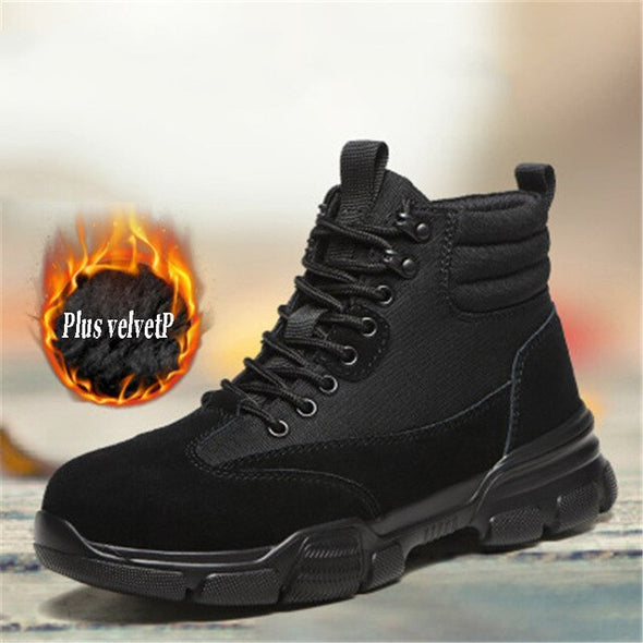 Men's Safety Shoes High-Top Work Boots With Velvet For Cold