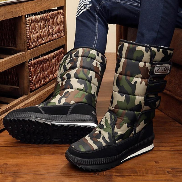 Men Thick Plush Waterproof Slip-resistant winter shoes