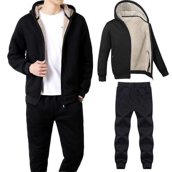 New Mens Casual Sportwear Suits Jacket + Pants Thick Slim Fit Sets